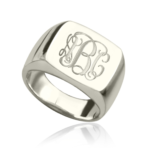Engraved Square Designs Monogram Ring Sterling Silver