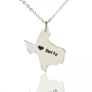 USA State Necklace With Heart & Name Silver