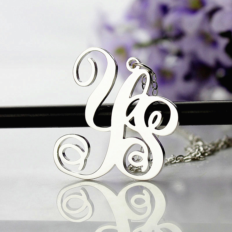 Personalized Sterling Silver 2 Initial Monogram Necklace