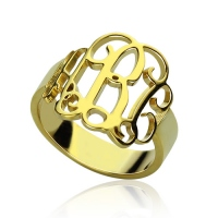 Personalized Gold Monogram Ring 18k Plated