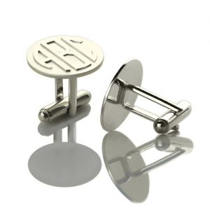 Personalized Mens Cufflinks Block Monogram Sterling Silver