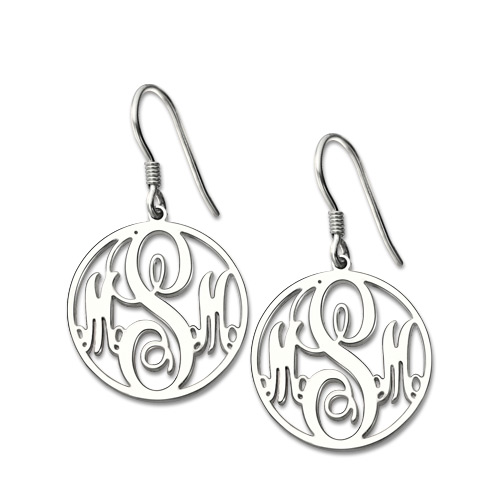 Personalized Circle Monogram Earrings In Sterling Silver