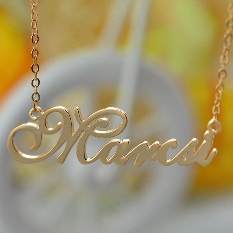 custom nameplate necklace 18k rose gold plated. Black Bedroom Furniture Sets. Home Design Ideas