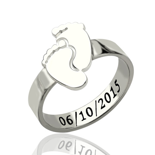 Engraved Baby Feet Ring For Mom Sterling Silver