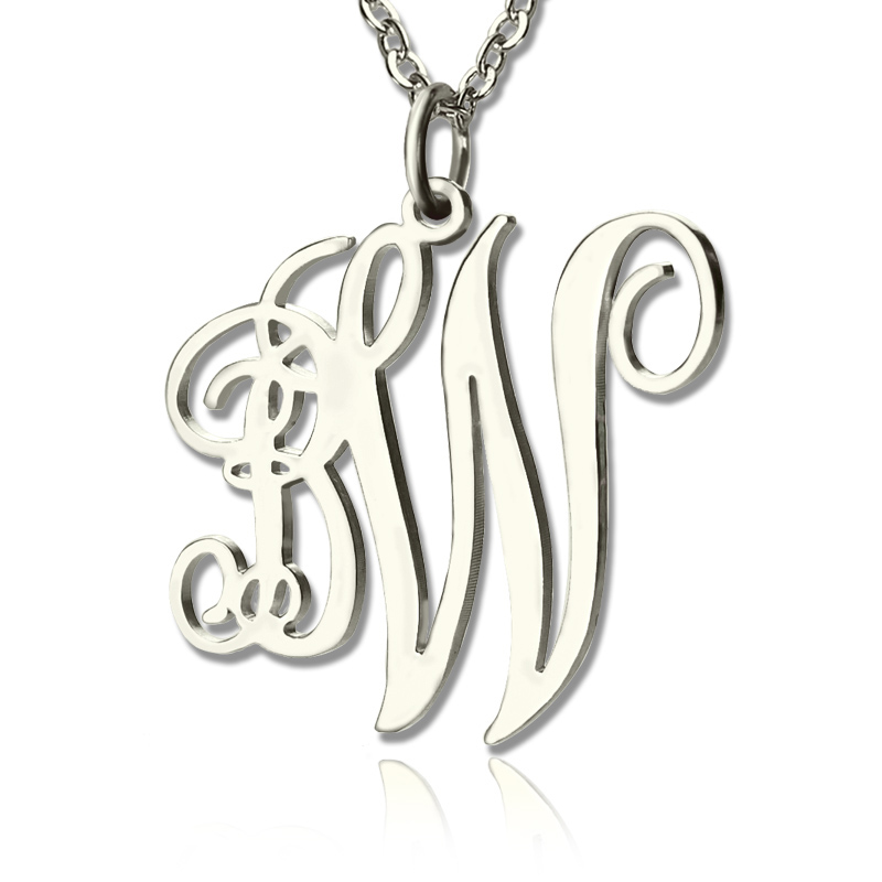 vine font 2 initial monogram necklace solid white gold. Black Bedroom Furniture Sets. Home Design Ideas