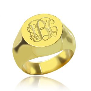 Engraved Circle Monogram Signet Ring 18K Gold Plated