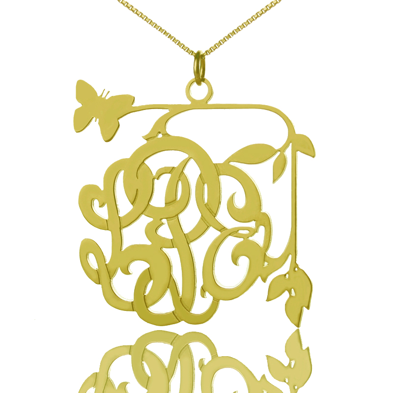 Vines & Butterfly Monogram Initial Necklace 18K Gold Plated