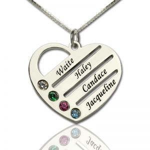 Personalised Mothers Heart Necklace Gift with Birthstone & Name
