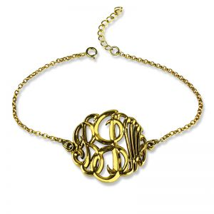 Personalized Monogrammed Bracelet Hand-painted 18K Gold Plated