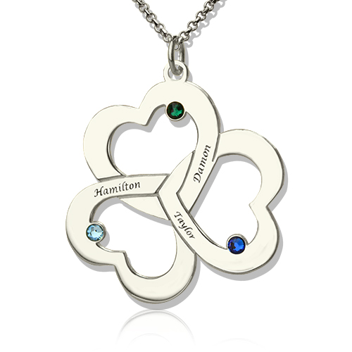 Mother's Day Three Triple Heart Necklace with Name
