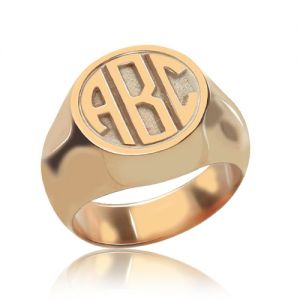 Circle Signet Ring with Block Monogram Rose Gold