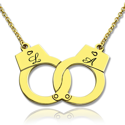 Personalized Handcuff Necklace 18k Gold Plated