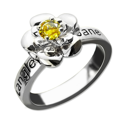 Mothers Rose Flower Rings Engraved Name & Birthstone
