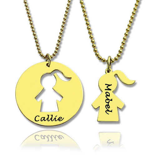 Mother and Child Necklace Set with Name 18k Gold Plated