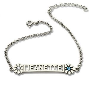 Personalized ID Birthstone Name Bracelet For Teens