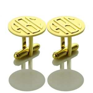 Cool Mens Cufflinks with Monogram Initial 18k Gold Plated