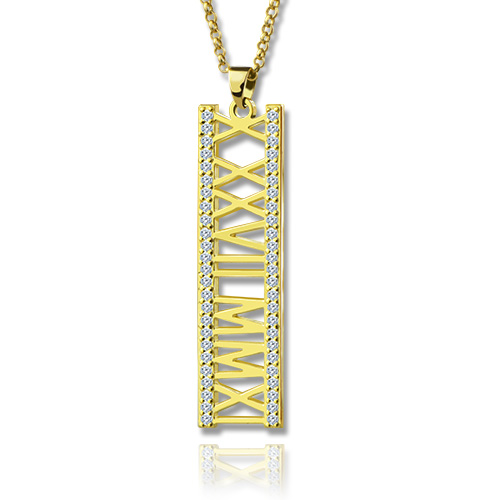 18K Gold Plated Roman Numeral Necklace With Birthstone