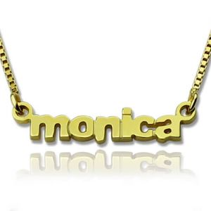 Personalized Small Lowercase Name Necklace in Gold