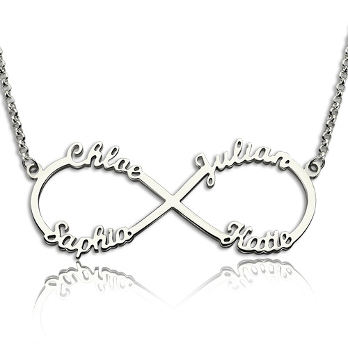 Sterling Silver Infinity Symbol Necklace 4 Names
