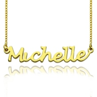 HandWriting Name Necklace 18K Gold Plate