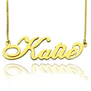 Personalized Necklace Nameplate Carrie in Gold