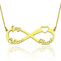 Heart Infinity Necklace 3 Names 18K Gold Plated