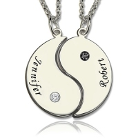 Gifts for Him & Her - Yin Yang Necklace Set with Name & Birthstone