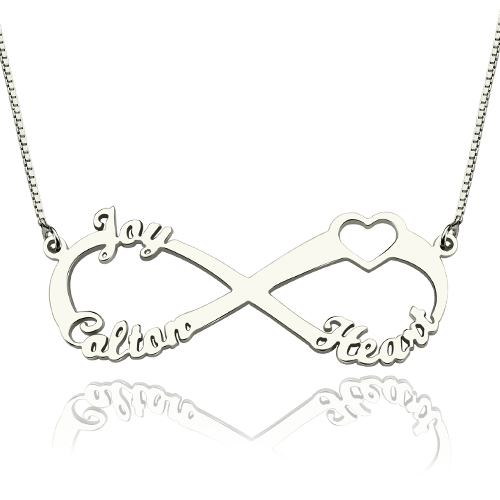 Mother's Day Infinity Necklace Gift with Heart and Names