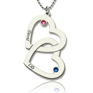 Double Heart Necklace with Name & Birthstones Sterling Silver