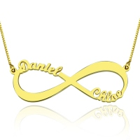 18k Gold Plated Infinity Necklace Double Name