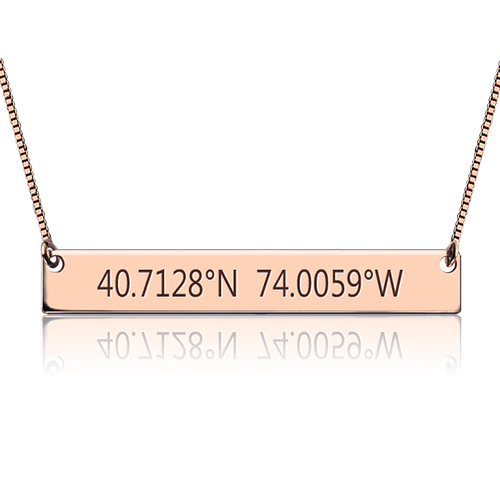 Engraved Coordinates Bar Necklace In Rose Gold