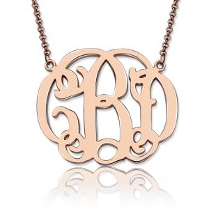 Personalized Celebrity Monogram Necklace In Rose Gold