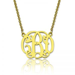 Personalized Small Celebrity Monogram Necklace 18K Gold Plated