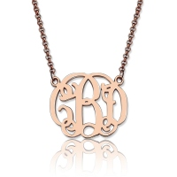 Personalized Small Celebrity Monogram Necklace In Rose Gold