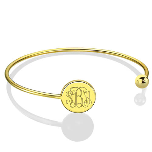 Disc Monogram Bangle Bracelet 18k Gold Plated - Adjustable