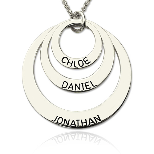 Engraved Sterling Silver Three Disc Necklace for Mothers