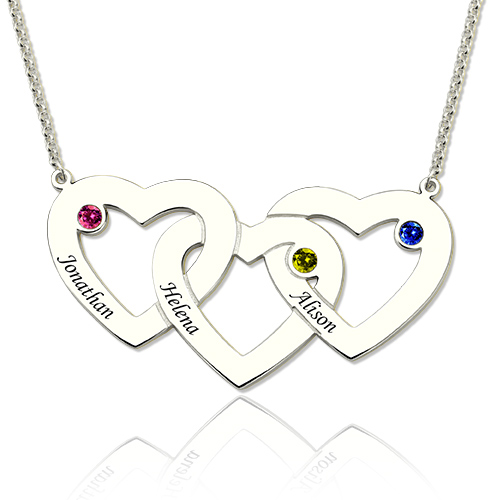 Intertwined Hearts Birthstones Necklace In Sterling Silver