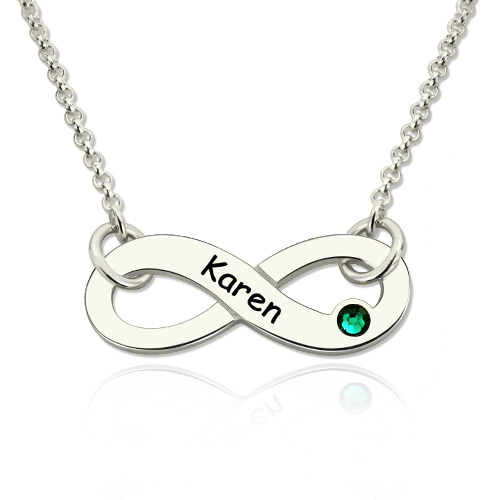 Personalized Silver Infinity Birthstone Name Necklace