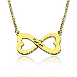 Personalized Gold Infinity Heart-Shaped Name Necklace