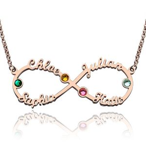Personalized Infinity Four Name Necklace With Birthstones Rose Gold
