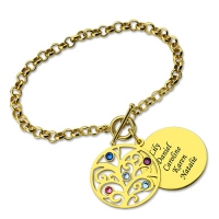 Engraved Family Tree Birthstone Bracelet 18K Gold Plated Silver