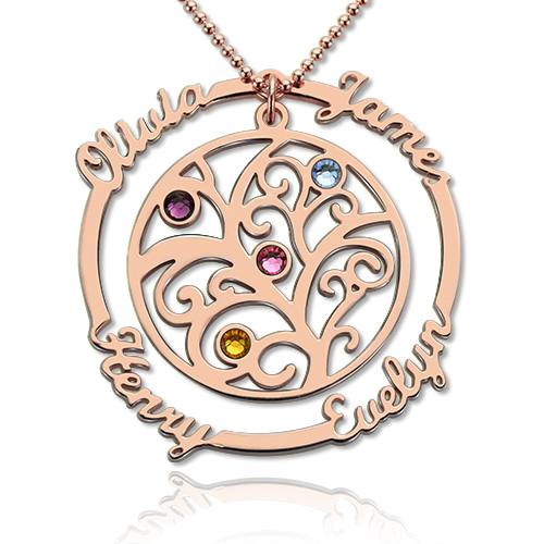 Birthstone Family Tree Necklace with Name for Mothers In Rose Gold