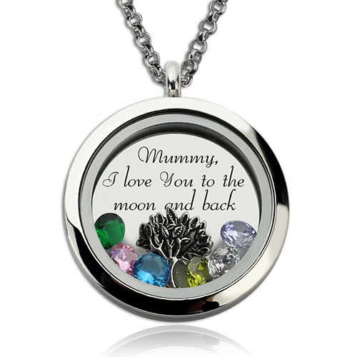 Personalised Family Floating Crystal Living Locket