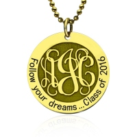 Follow Your Heart Monogram Necklace Graduation Necklace In Gold