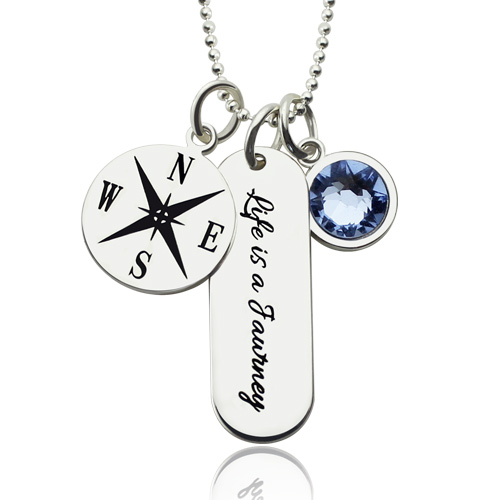 Engraved Compass Bar Necklace with Birthstone Graduation Jewelry
