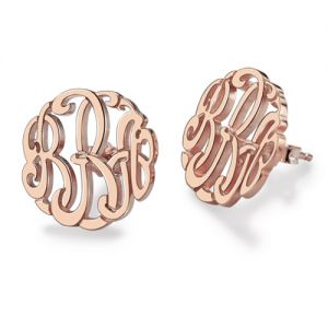 Personalized Hand-painted Monogram Stud Earring In Rose Gold