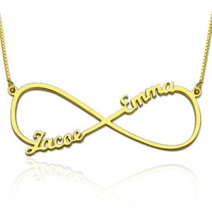 Infinity Necklace with Two Names Gold Plated Silver