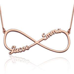 Infinity Necklace with Two Names In Rose Gold