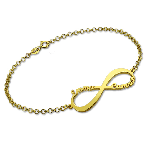 Personalised Infinity Symbol Name Bracelet In Gold