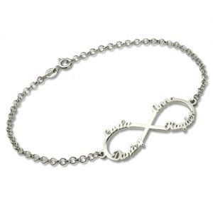 Personalised Infinity Four Names Bracelet In Sterling Silver